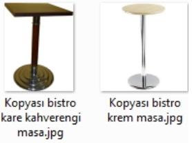 Ahşap krem renkli bar masaları
