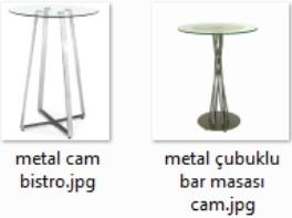 Metal ve Cam bar masaları